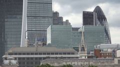 Tall Buildings with Glass Facades and Amazing Modern Architecture in London. Stock Footage