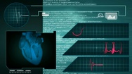Heart - Interface - medical screen - graphics - blue Stock Footage