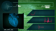 Heart - Interface - medical screen - graphics - green Stock Footage