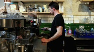 Barista preparing coffee Stock Footage