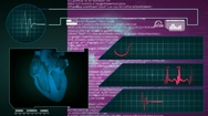 Heart - Interface - medical screen - graphics - purple Stock Footage