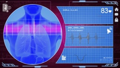 Lungs - Interface - medical screen - purple Stock Footage
