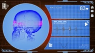 Skull - Interface - medical screen - red Stock Footage