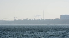Sopot cityscape with birds flying by Stock Footage