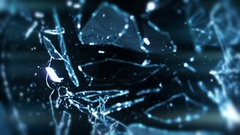 Broken Glass In Slow Motion With Lens Flare - 32 Stock Footage