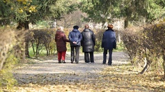 Group of seniors enjoying walk on sunny autumn day, life after retirement Stock Footage