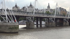 Train Crossing Thames River on Railway Over a Bridge in London Center. Stock Footage