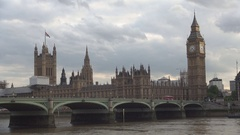 Double Decker Red Buss Crossing Thames River Over the Westminster Bridge.  Stock Footage