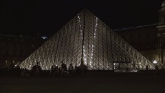 Night View with People Visiting Pyramide Du Louvre Inside Museum Area in Paris. Stock Footage