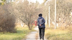 Lone elderly woman walking in autumn park, health problems, senior care, support Stock Footage