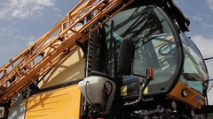 Shot of agricultural machine standing in the parking Stock Footage