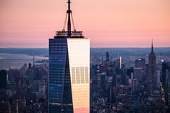 USA, New York State, New York City, One World Trade Center building at sunrise Kuvituskuvat