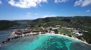 Aerial video of Sapphire beach, St.Thomas, US Virgin Islands Stock Footage