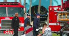 Emergency response of fire department paramedics in Venice Beach, Los Angeles 4K Stock Footage