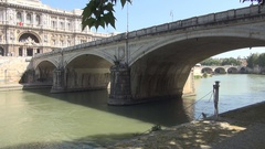 Umberto I Bridge View from Rome Beautiful Stone Construction Over Tiber River. Stock Footage