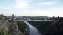 Clifton suspension bridge balloon fiesta sunny Stock Footage