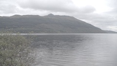 Scottish loch river cloudy Stock Footage