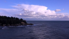 Small storm off the peninsula Jadran, Ulcinj, Montenegro Stock Footage