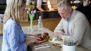 Man and woman on business lunch Stock Footage