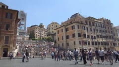 Famous Spain Square Large Plaza View Historical Place Visited by Tourists. Stock Footage