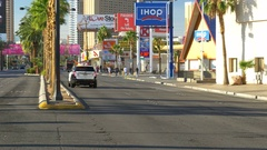 Police car with lights flashing stopped on Las Vegas Boulevard Stock Footage