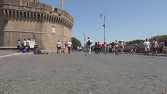 Walking Area Front of Saint Angelo Castle with Peoples Visiting Old Lanmark. Stock Footage