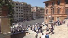 Piazza Di Spagna with Tourists in Holiday Strolling and Visiting Old Streets. Stock Footage
