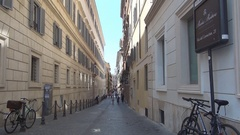 Small Street with Old Architecture in Rome City Neighborhood. Stock Footage