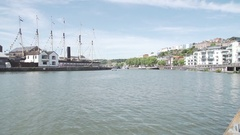 Ss great britain harbourside bristol sunny blue sky Stock Footage