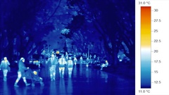 Thermal imaging video, people walking, cool city park trees Stock Footage