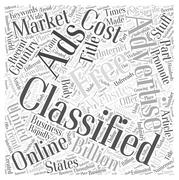 Free classifieds Using them to promote your stuff online word cloud concept Stock Illustration