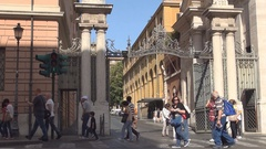 Peoples Crosing Front of One Vatican Entrance Guarded by Papal Guards. Stock Footage