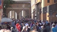 Street near Vatican Wals with Peoples Tourists Visiting Rome Sightseeing. Stock Footage
