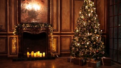 New Year Tree decorated room interior in classic style Stock Footage
