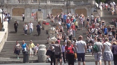 People Walking in Piazza Di Spagna Around Fontana Della Barcaccia. Stock Footage