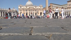 St. Peter's Square Crowded with Visitors Vatican City Tourists Attraction. Stock Footage