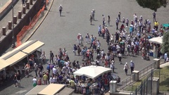 Souvenirs Area Market Populated near Tiber River Front of Sant'angelo Castle.  Stock Footage