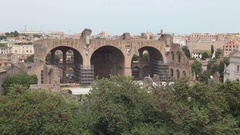 Roman Empire Ancient Remains Old Temple Located in Rome City Tourist Area. Stock Footage