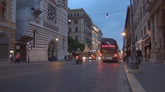 Night Life in Rome Downtown Crowded Traffic on Boulevard with Many Tourists. Stock Footage