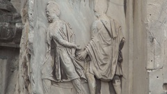 Emperor Trajan's Victory Symbolised in Stone Sculpture in Trajan's Column. Stock Footage
