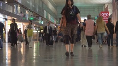 Rail Station View in Rome City with People Walking on Station Platform. Stock Footage