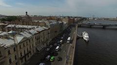 4k aerial shot of Saint-Petersburg wedding palace on English embankment Stock Footage