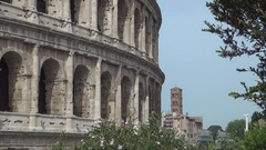 Colosseum Amphitheatre Walls Roman Ancient Ruins in Rome City Historic Center. Stock Footage