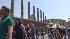 Tourists Visiting Roman Empire Remains in Roman Forum Site from City Rome. Stock Footage