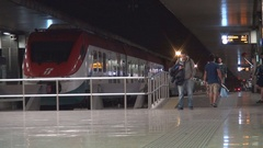 Train Stationed at Platform in Railway Station Waiting Peoples at Night Hour. Stock Footage