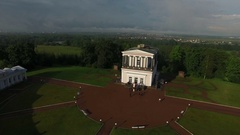 Belveder palace near Peterhof city Saint-Petersburg aerial Stock Footage
