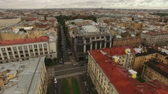 Aerial view of historical centre of Saint-Petersburg Stock Footage