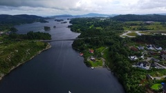 Norway, sea, mountains, panorama, phantom, aerial survey. Stock Footage