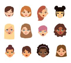 Woman emoji face vector icons. Piirros