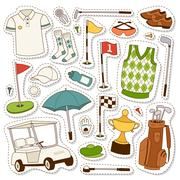Vector set of stylized golf icons Stock Illustration